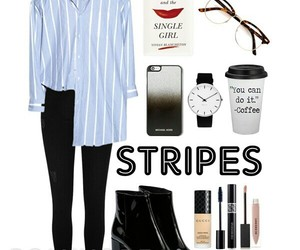 fashion, Polyvore, and striped shirt image