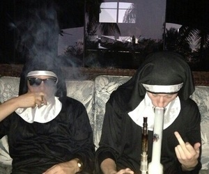 smoke, nun, and grunge image