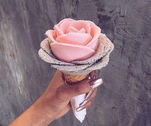 ice cream, flowers, and food image