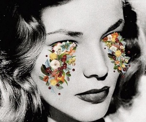 Lauren Bacall, flowers, and vintage image
