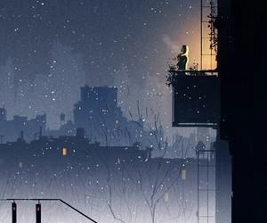 night, art, and snow image