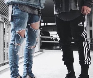 denim, ripped, and jumper image