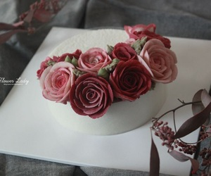 cake, flowers, and flower image
