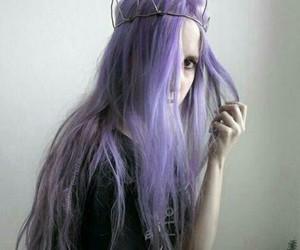 girl, purple, and haïr image