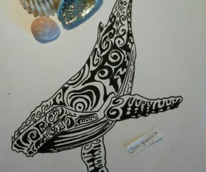 draw, whale, and ocean image