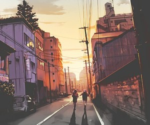 anime, scenery, and sunset image