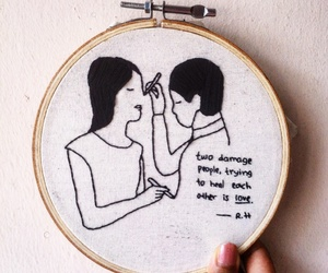 embroidery, illustration, and love quotes image