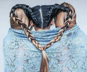 braid, hair, and heart image