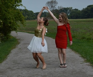 dance, friend, and red image