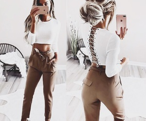 clothes, crop top, and high waisted pants image