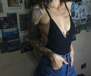 girl, tattoo, and grunge image