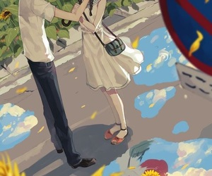 anime, couple, and sunflower image