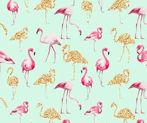 wallpaper, flamingo, and gold image