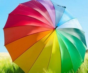 umbrella, rainbow, and colors image