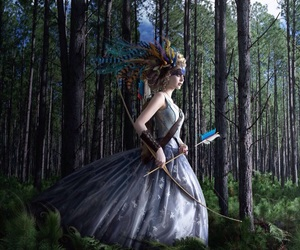 archer, woods, and feathers image