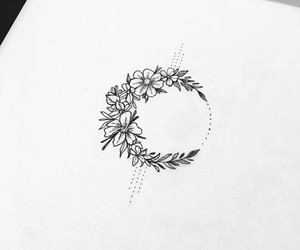 art, flowers, and moon image