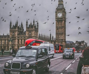 Big Ben, cars, and city image