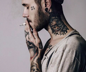 tattoo, boy, and smoke image