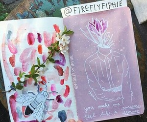 book, draw, and flowers image