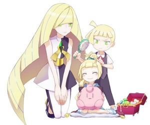 lillie, pokemon sun and moon, and gladion image