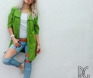 casual, green coat, and green day image