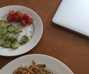 cucumber, food, and tomatoes image