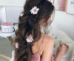 flowers in hair, photography, and follow me image