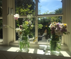 flowers, aesthetic, and window image