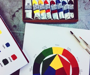 art, color wheel, and painting image