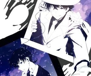 anime, black and white, and shinichi kudo image