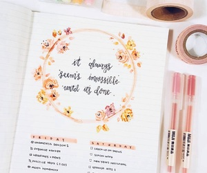 study, bullet journal, and flowers image