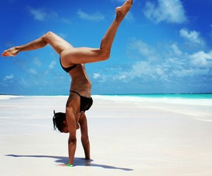 acrobatic, beach, and fit image