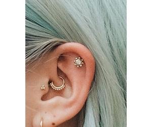 piercing, ear, and earrings image