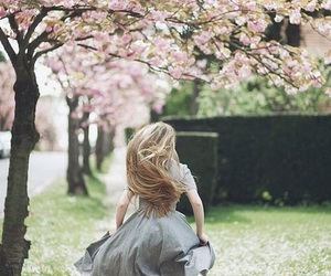 girl, spring, and flowers image