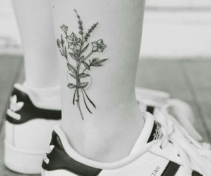 tattoo, flowers, and girl image