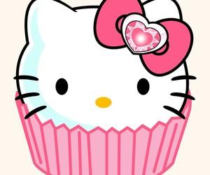 hello kitty, pink, and cupcake image