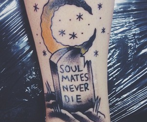 tattoo, moon, and soulmates image