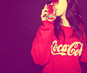 girl, coca cola, and red image