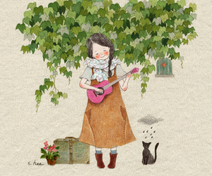 cat, girl, and music image