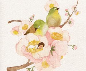 bird, flowers, and girl image