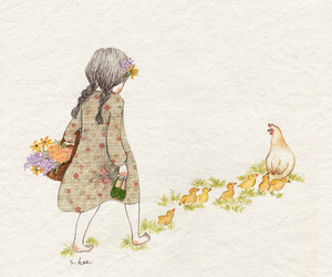 Chicken and girl image