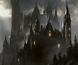 castle, illustration, and vampire image