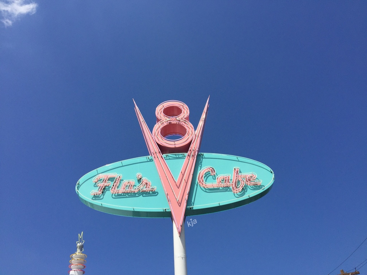 This Looks Like A Really Retro Cafe Sign But It S Really Just The Cafe For Cars Land In Disney
