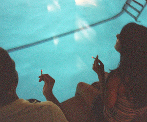 girl, cigarette, and pool image