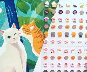 kitten, cat sticker, and cat paw image