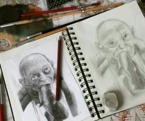 drawing, LOTR, and the hobbit image