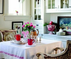 home decor, kitchen table, and cottage kitchen image