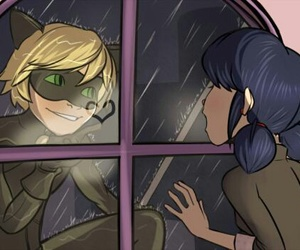 Chat Noir, marinette, and heart image