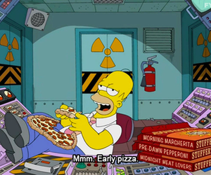 homer, pizza, and the simpsons image