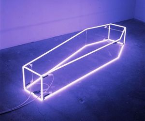 aesthetic, coffin, and neon lights image